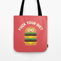 fleetwood mac Tote Bags featuring Discounting Calories by David Olenick