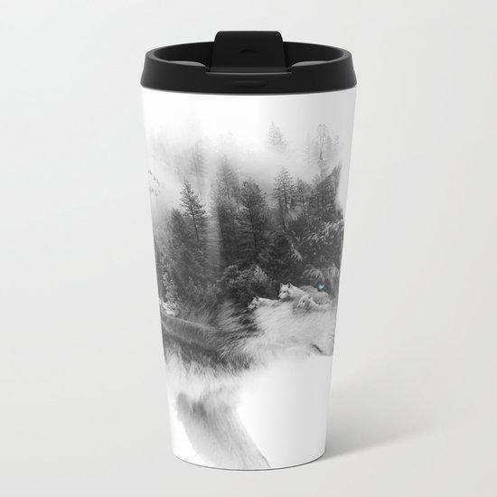 Wolf Stalking Metal Travel Mug