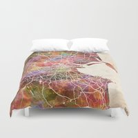 dublin Duvet Covers featuring Dublin map by MapMapMaps.Watercolors