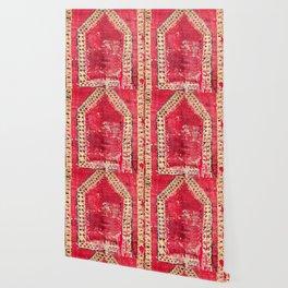 Ottoman  Antique Ushak Turkish Niche Kilim Print Wallpaper