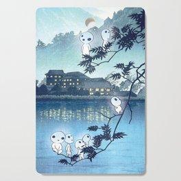Kodama, Forest spirits vintage japanese woodblock mashup Cutting Board