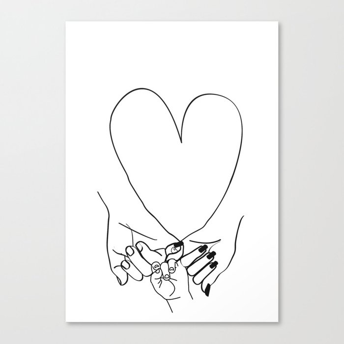 Parent Pinky Promise Family Line Art Mother Father Baby Canvas Print By Honeymoonhotel Society6