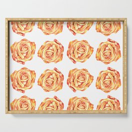 Pretty Pink Rose Floral Design Serving Tray