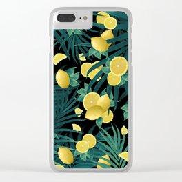 Summer Lemon Twist Jungle Night #1 #tropical #decor #art #society6 Clear iPhone Case