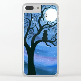 Meowing at the moon - moonlight cat painting Clear iPhone Case
