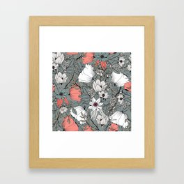 Seamless pattern design with hand drawn flowers and floral elements Framed Art Print