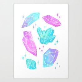 Pastel Watercolor Crystals Art Print