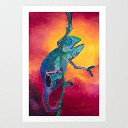 Singing Chameleon Art Print
