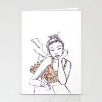 writing Stationery Cards featuring Woman Writing by Stevyn Llewellyn
