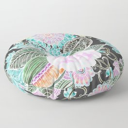 Hand painted black pink teal white green watercolor floral Floor Pillow