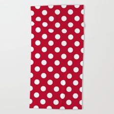 Red and Polka White Dots Beach Towel