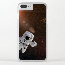 Astronaut Sun Stars Clear iPhone Case
