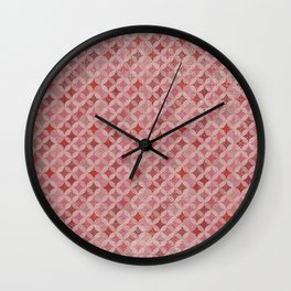 Vintage chic pink red geometrical quatrefoil pattern Wall Clock