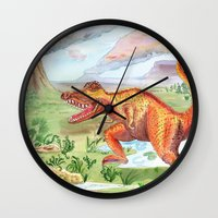 t rex Wall Clocks featuring T-Rex by Catherine Holcombe