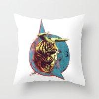 spiritual Throw Pillows featuring Spiritual Tiger by Rene Alberto