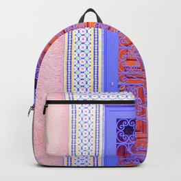 Colorful Moroccan Door in Marrakech Blue and Purple Backpack