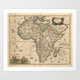 Vintage Map of Africa (1689) Art Print