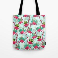 Pink Flamingos Exotic Birds Tote Bag