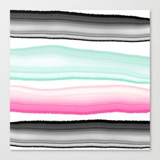 Modern abstract black pink turquoise agate gem stripes pattern Canvas Print