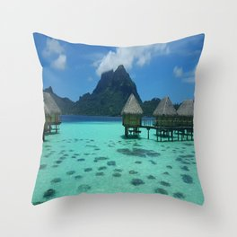 Bora Bora Bungalow Throw Pillow