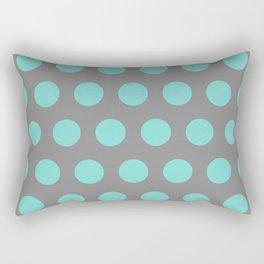 Medium Aqua Dots on Gray Rectangular Pillow