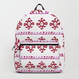 Watercolor Red Boho Tribal Ethnic Kilim Pattern Backpack