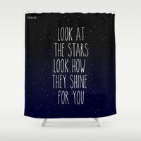 coldplay Shower Curtains featuring Look How They Shine For You by Adel