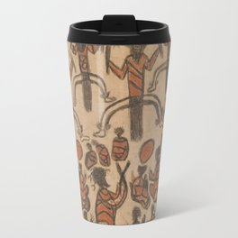 Wurundjeri People Charcoal Drawing by Australian William Barak Travel Mug