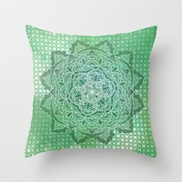 Green Power Mandala Pattern Throw Pillow