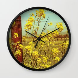 Spring Breeze (Mustard Plants and Cottage) Wall Clock