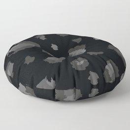 Snow Leopard Black and Gray Dark Leopard Print Floor Pillow