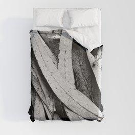 Fallen Eucalyptus Leaves Texture Black and White Duvet Cover