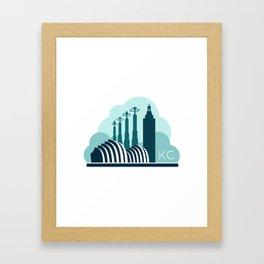 Kansas City in the Clouds - Blue Framed Art Print