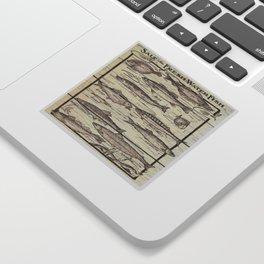 father's day fisherman gifts whitewashed wood lakehouse freshwater fish Sticker