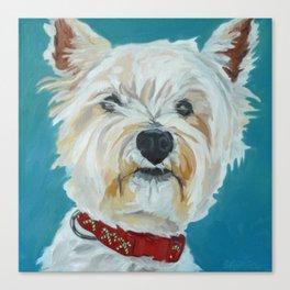 Jesse the Beautiful West Highland White Terrier Dog Portrait Canvas Print