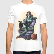 Halloween Zombie Girl Pin Up Mens Fitted Tee White MEDIUM