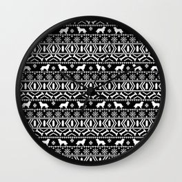 Bernese Mountain Dog fair isle christmas black and white pattern holiday dog breed gifts Wall Clock