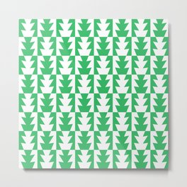 Art Deco Jagged Edge Pattern Green Metal Print
