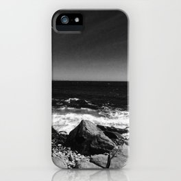 ocean view in black and white iPhone Case