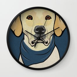 Icons of the Dog Park: Yellow Labrador Design in Bold Colors for Pet Lovers Wall Clock