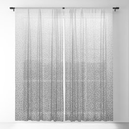 Faded black and white swirls doodles Sheer Curtain