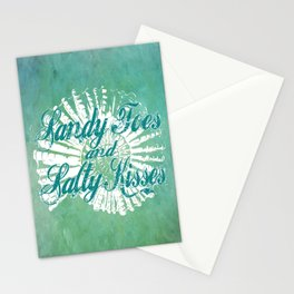 Sandy Toes and Salty Kisses with Nautilus Shell Graphic Design Stationery Cards