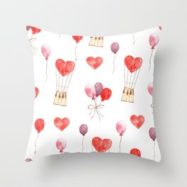 love in the air  watercolor pattern wit hearts, balloons Throw Pillow
