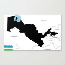 political map of Uzbekistan country with flag Canvas Print