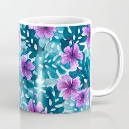 Tropical Hibiscus Pattern Purple Coffee Mug