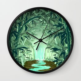 Fluorescent Waterfall on Surreal Bamboo Forest Wall Clock