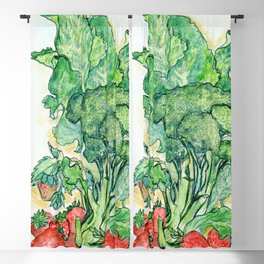 Berries and Broccoli Blackout Curtain