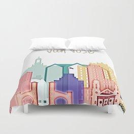 San Jose colorful skyline design Duvet Cover