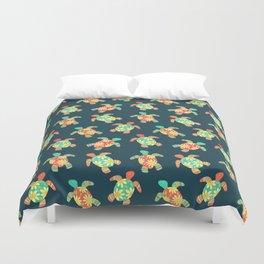 Cute Flower Child Hippy Turtles Duvet Cover