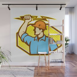 Electrician Wielding Lightning Bolt Wall Mural